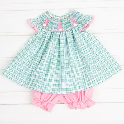 Bunny Bum Smocked Bloomer Set Blue and Green Plaid