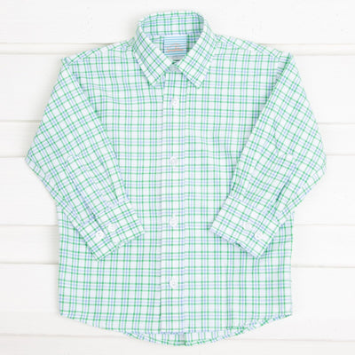 Button Down Blue and Green Plaid