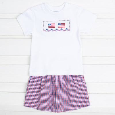 Flag Smocked Short Set Red and Blue Plaid