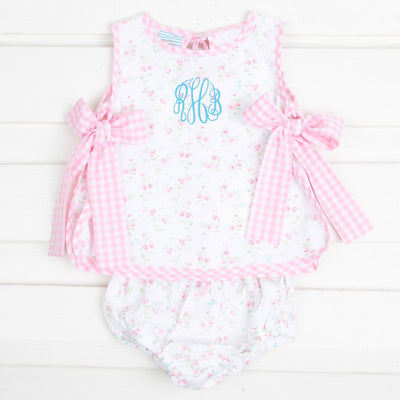 Pink Floral Side Tie Bloomer Set