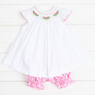 Watermelon Smocked Bloomer Set Pink Damask