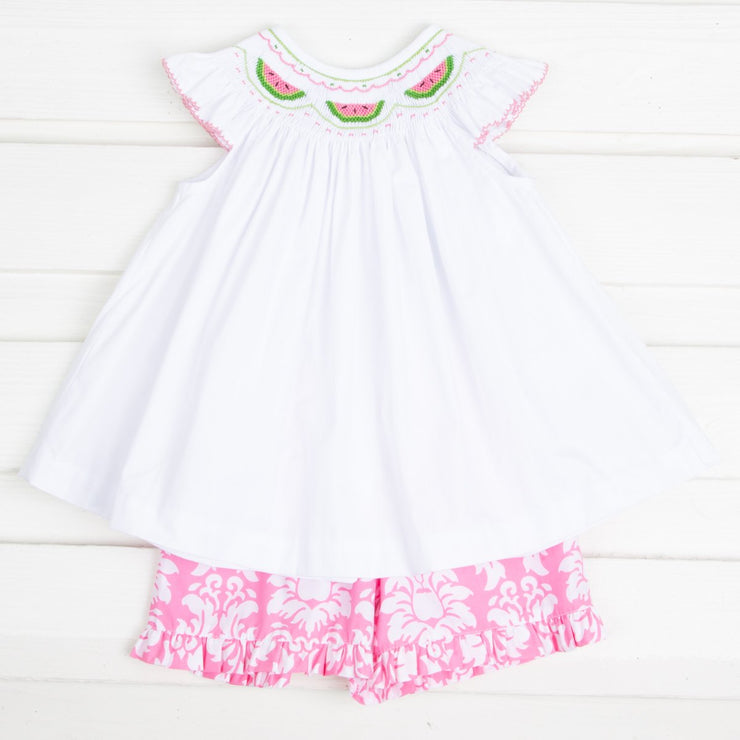 Watermelon Smocked Short Set Pink Damask