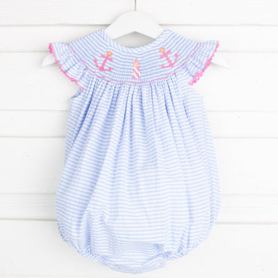 Anchor Smocked Bubble Blue Seersucker Stripe