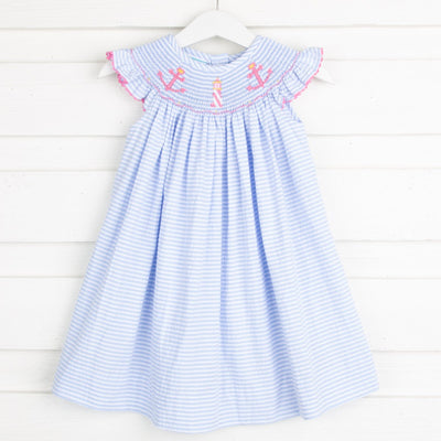 Anchor Smocked Dress Blue Seersucker Stripe
