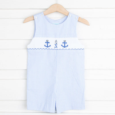 Anchor Smocked Jon Jon Blue Seersucker Stripe