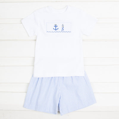 Anchor Smocked Short Set Blue Seersucker Stripe