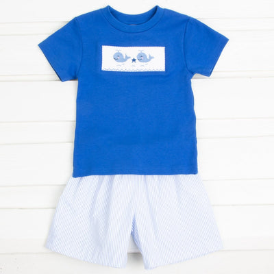 Whale Smocked Short Set Light Blue Seersucker