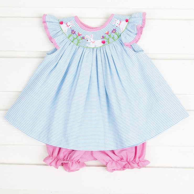 Bunny Garden Smocked Bloomer Set Turquoise Stripe Seersucker