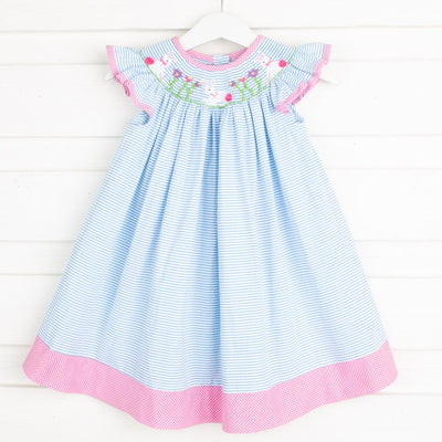 Bunny Garden Smocked Dress Turquoise Stripe Seersucker