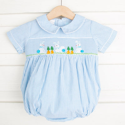 Bunny Garden Smocked Boy Bubble Turquoise Stripe Seersucker