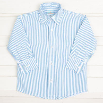 Turquoise Stripe Seersucker Button Down