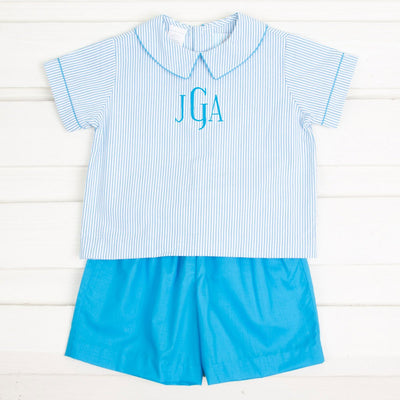 Turquoise Stripe Seersucker Short Set