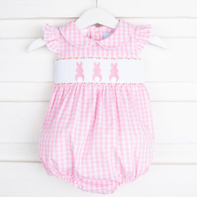 Bunny Bum Smocked Collared Bubble Pink Check