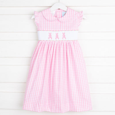 Bunny Bum Smocked Collared Dress Pink Check