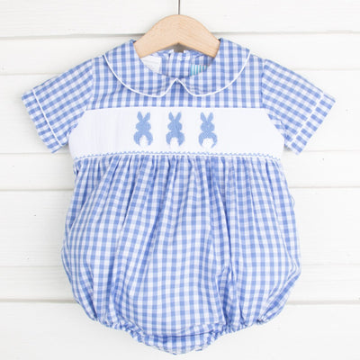 Bunny Bum Smocked Boy Bubble Blue Check