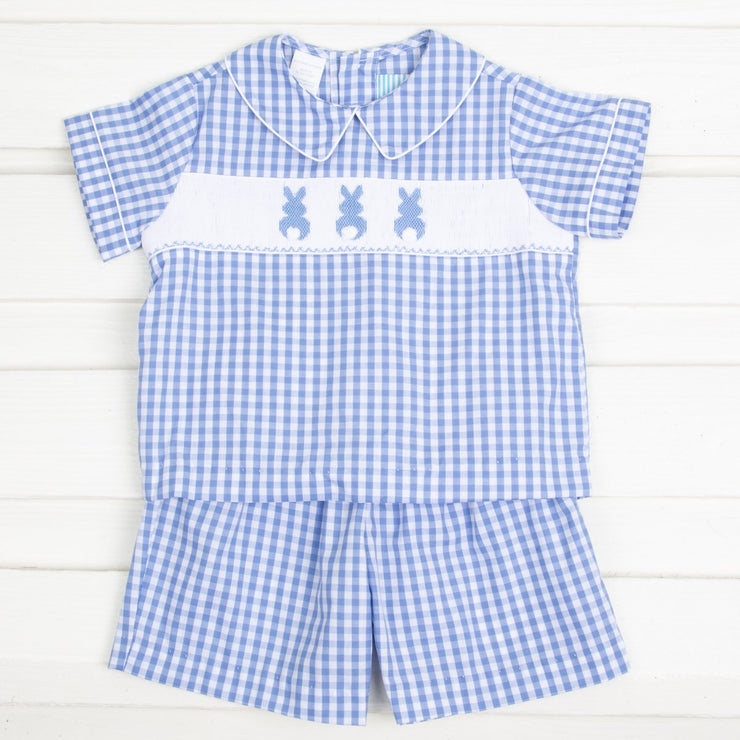 Bunny Bum Smocked Short Set Blue Check