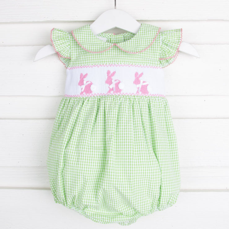 Bunny Smocked Collared Bubble Light Green Seersucker