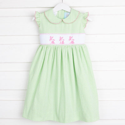 Bunny Smocked Collared Dress Light Green Seersucker
