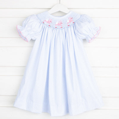 Bunny and Flowers Smocked Bishop Light Blue Dot