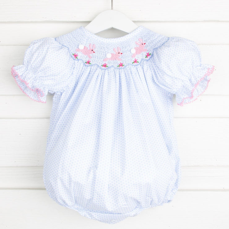 Bunny and Flowers Smocked Bubble Light Blue Dot