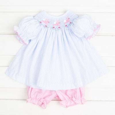 Bunny and Flowers Smocked Bloomer Set Light Blue Dot