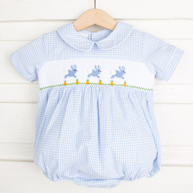 Bunny and Carrots Smocked Boy Bubble Light Blue Seersucker