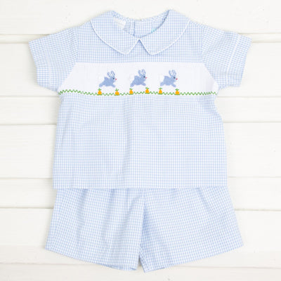 Bunny and Carrots Smocked Short Set Light Blue Seersucker