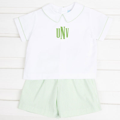 Green Stripe Seersucker Collared Short Set