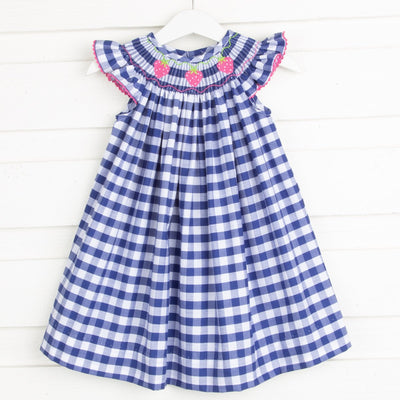 Hot Pink Strawberry Smocked Dress Navy Check
