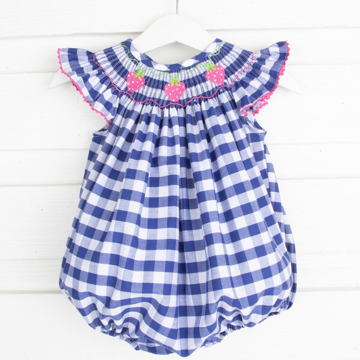 Hot Pink Strawberry Smocked Bubble Navy Check