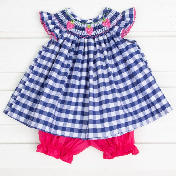 Hot Pink Strawberry Smocked Bloomer Set Navy Check