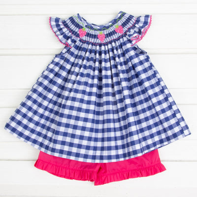 Hot Pink Strawberry Smocked Short Set Navy Check