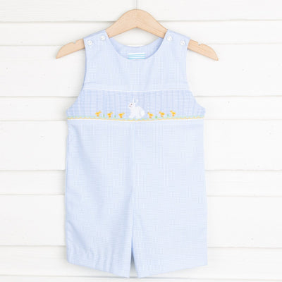 Bunny Smocked Jon Jon Light Blue Gingham