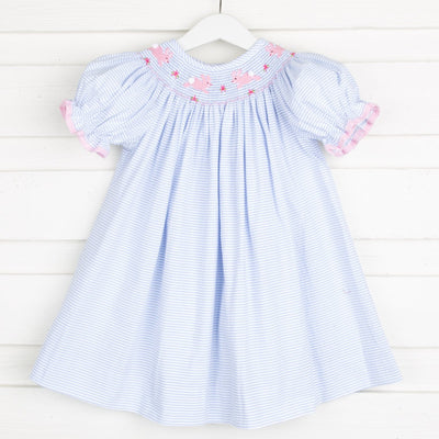 Easter Bunny Smocked Bishop Light Blue Stripe Seersucker