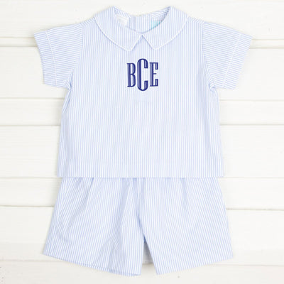Boys Collared Short Set Light Blue Stripe Seersucker