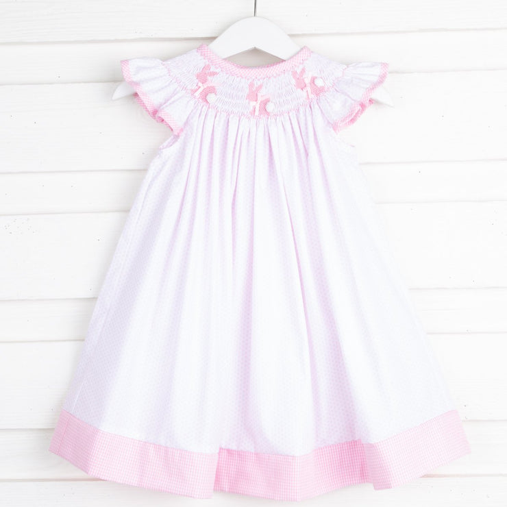 Bunny Silhouette Smocked Dress White & Pink Dot