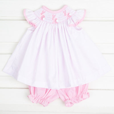 Bunny Silhouette Smocked Bloomer Set White & Pink Dot