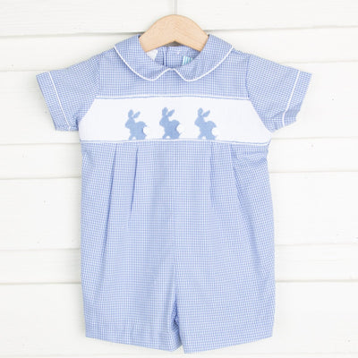 Bunny Silhouette Smocked Collared Shortall Light Blue Gingham