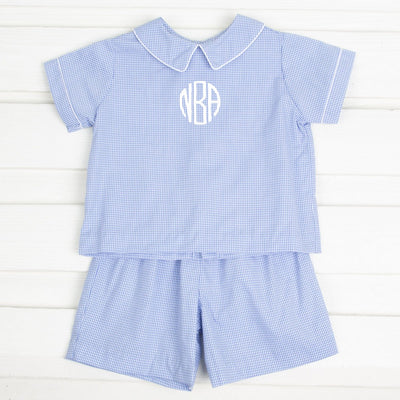 Collared Boys Short Set Light Blue Gingham