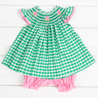 Pink Watermelon Smocked Bloomer Set Green Check