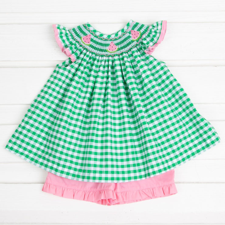 Pink Watermelon Smocked Short Set Green Check