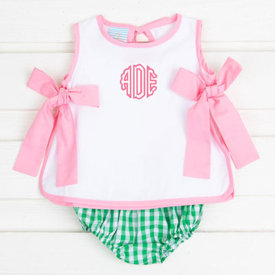Tie Back Bloomer Set Pink and Green Check