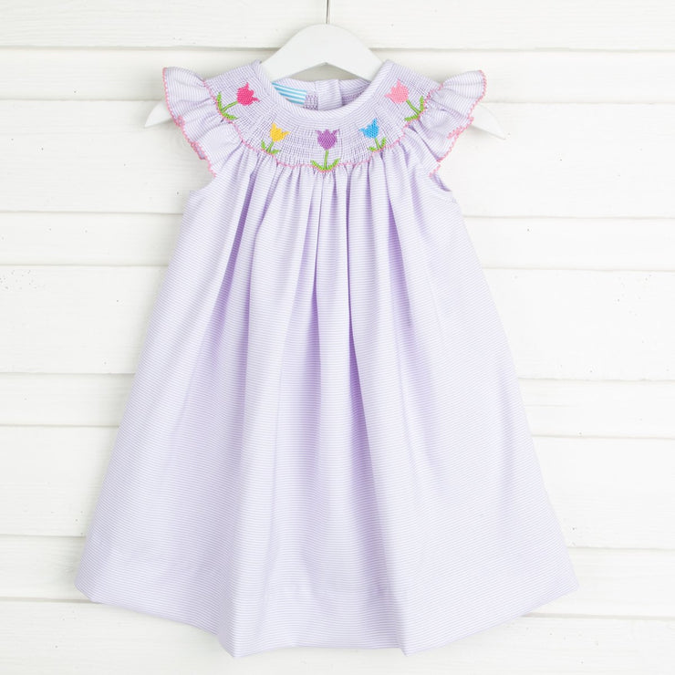Tulip Smocked Dress Lavender Stripe