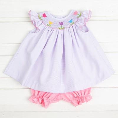 Tulip Smocked Bloomer Set Lavender Stripe