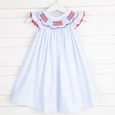 Flag Smocked Dress Light Blue Dot