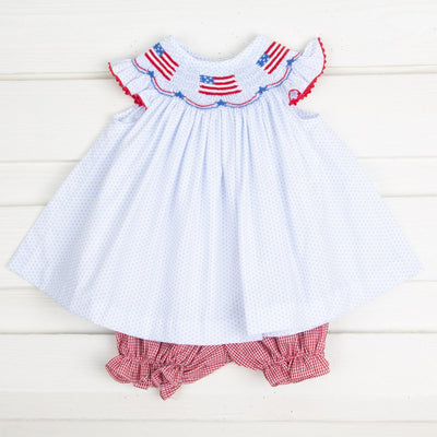 Flag Smocked Bloomer Set Light Blue Dot