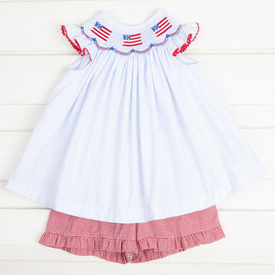 Flag Smocked Short Set Light Blue Dot