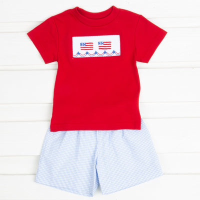 Flag Smocked Short Set Light Blue Gingham Seersucker