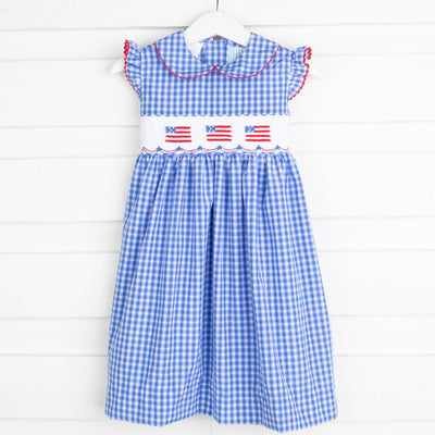 Flag Smocked Collared Dress Bright Blue Plaid