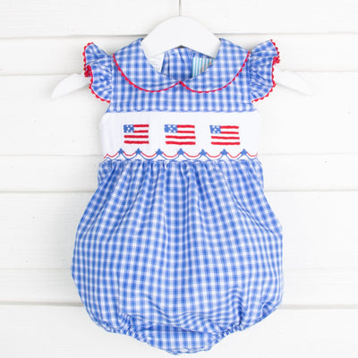 Flag Smocked Collared Bubble Bright Blue Plaid
